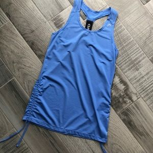 Head Tops - Blue ruched fitness tank
